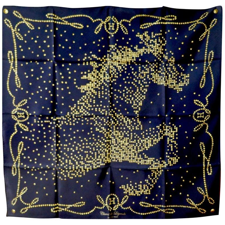 "Very Rare 2010 Hermes Silk Scarf "" Cheval de Legende"" by  Benoit Pierre Emery For Sale"