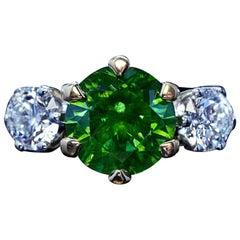 Very Rare 3.51 Carat Russian Demantoid Diamond Ring