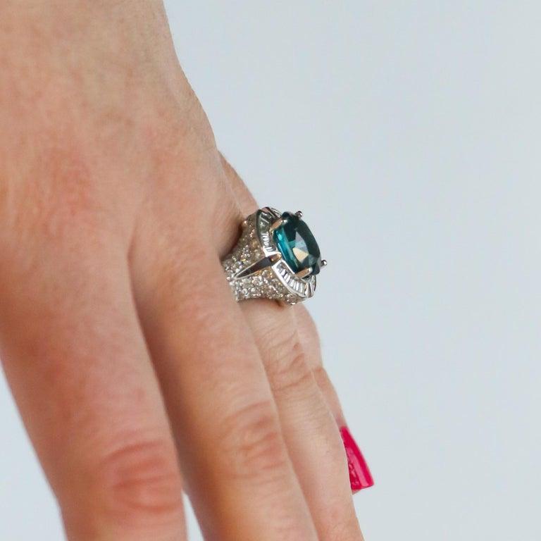 Men's Very Rare 4.50 Carat Teal Kyanite Ring For Sale