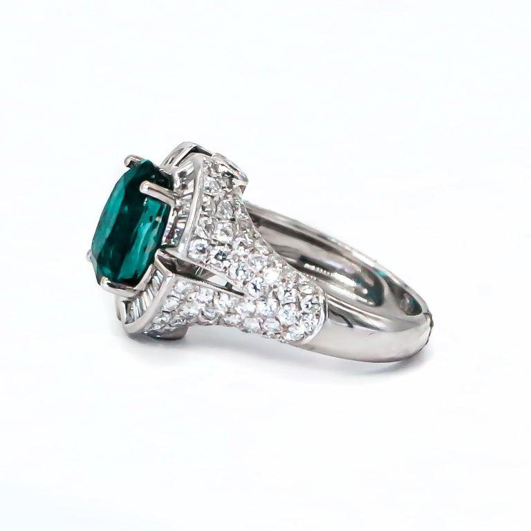 Very Rare 4.50 Carat Teal Kyanite Ring For Sale 1