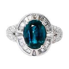 Very Rare 4.50 Carat Teal Kyanite Ring