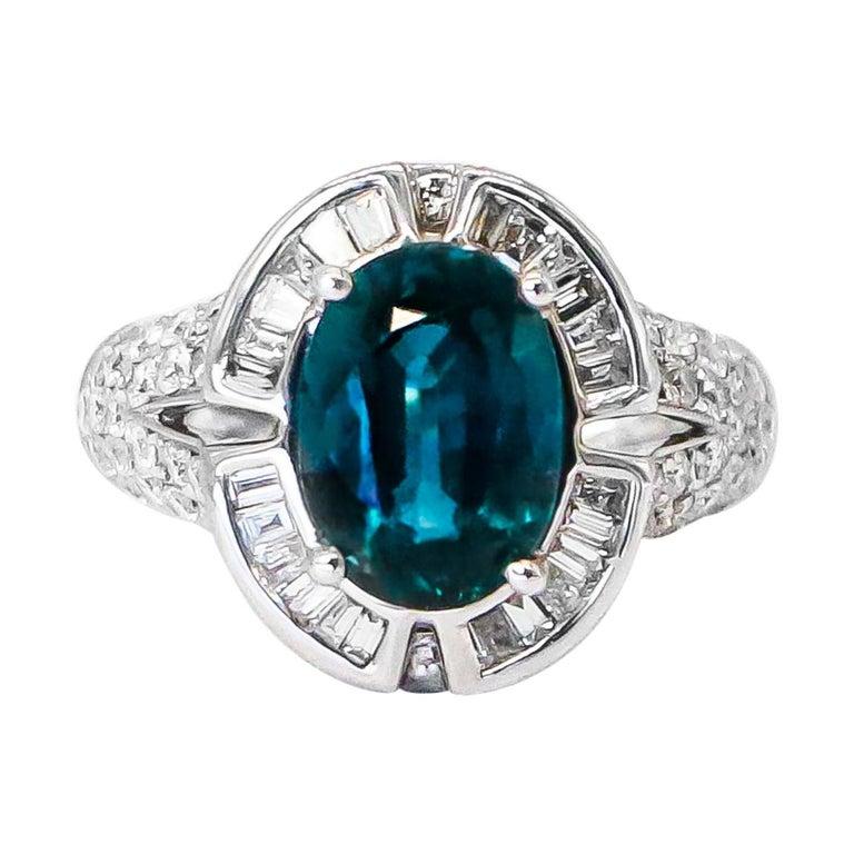 Very Rare 4.50 Carat Teal Kyanite Ring For Sale
