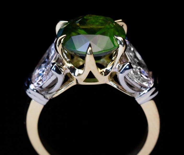 Contemporary Very Rare 4.98 Carat Russian Demantoid Diamond Ring For Sale