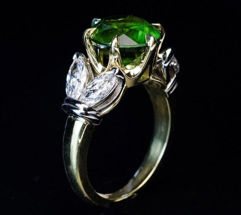 Very Rare 4.98 Carat Russian Demantoid Diamond Ring In New Condition For Sale In Chicago, IL