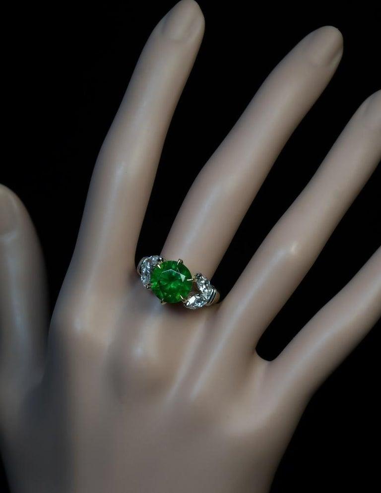 Women's Very Rare 4.98 Carat Russian Demantoid Diamond Ring For Sale