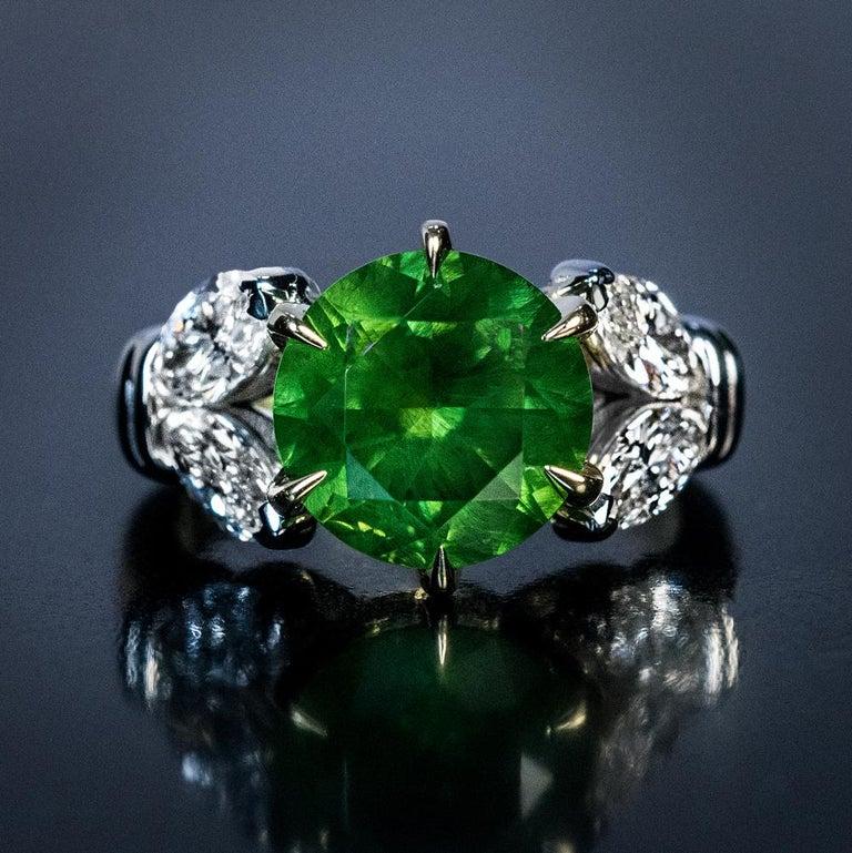 Very Rare 4.98 Carat Russian Demantoid Diamond Ring For Sale 2