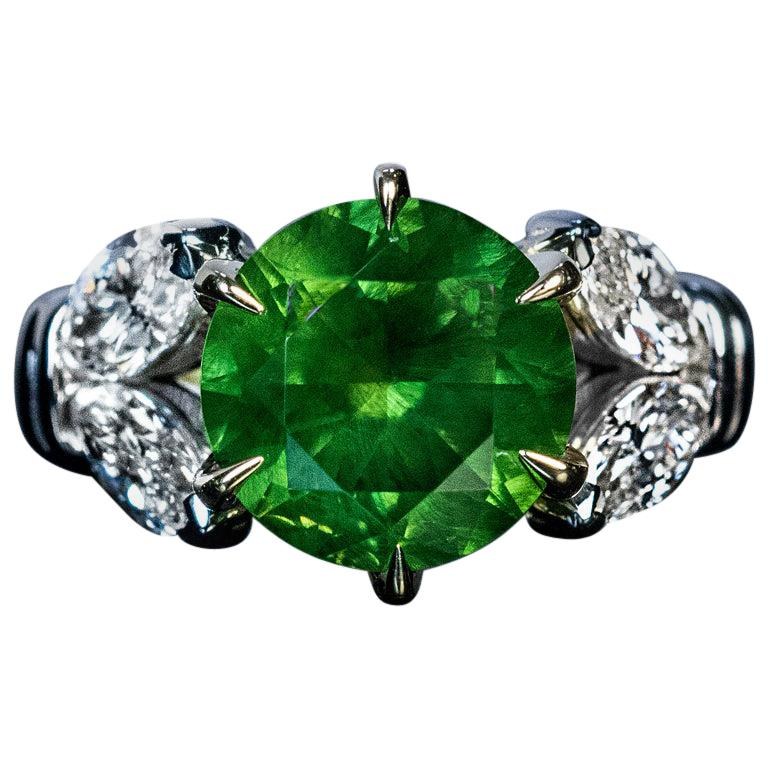 Very Rare 4.98 Carat Russian Demantoid Diamond Ring For Sale