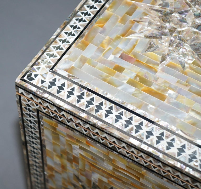 Very Rare Absolutely Sublime Mother of Pearl Chest of Trunk with Mahogany Lining For Sale 2