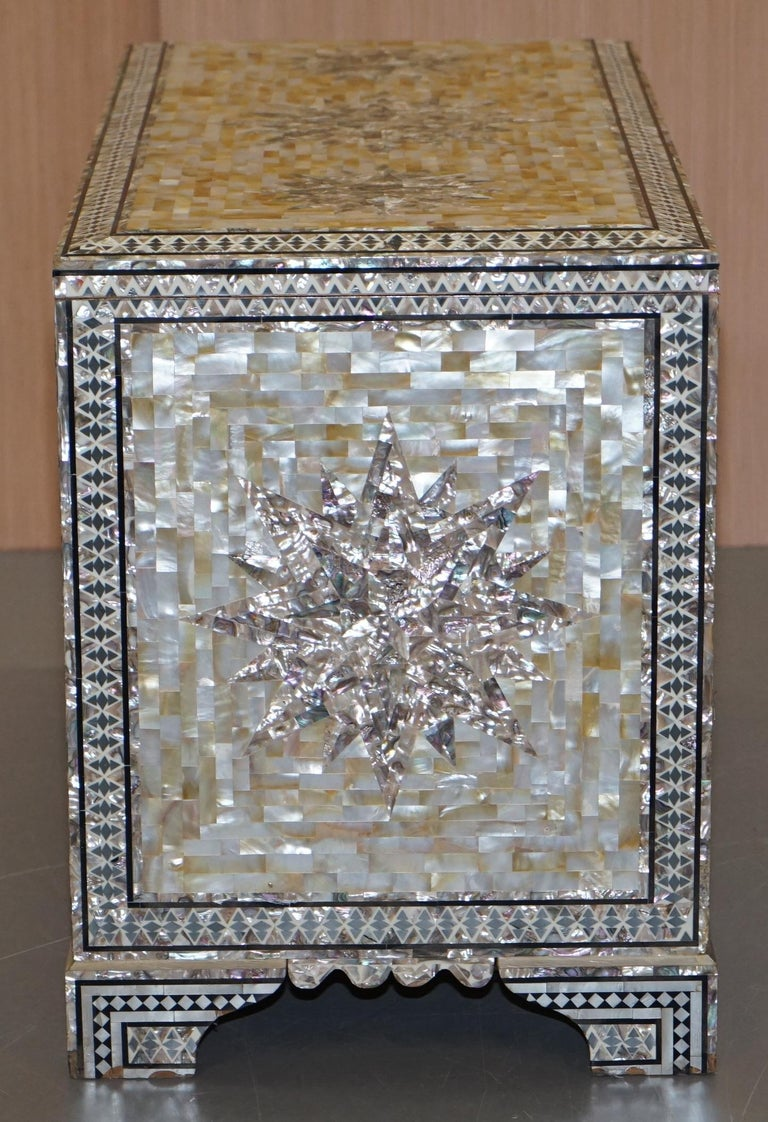 Very Rare Absolutely Sublime Mother of Pearl Chest of Trunk with Mahogany Lining For Sale 8