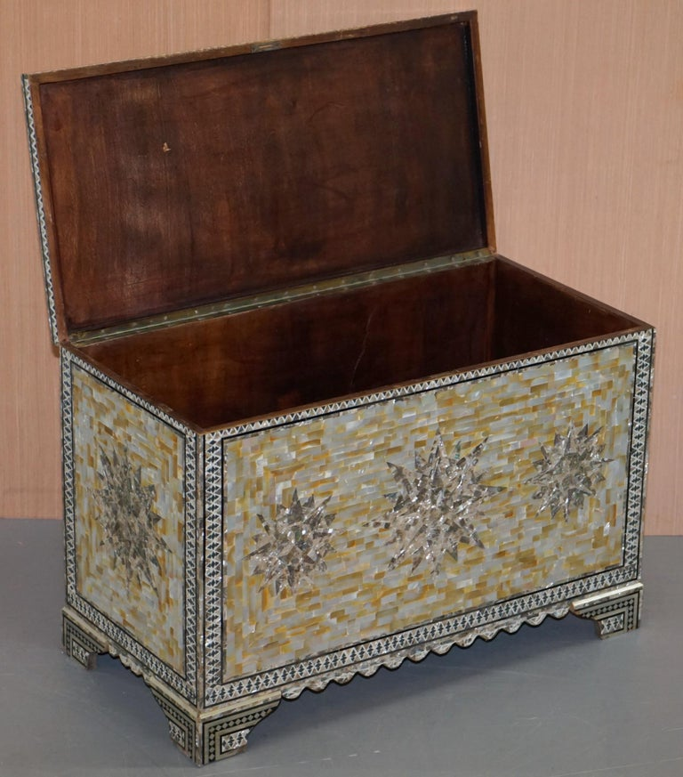 Very Rare Absolutely Sublime Mother of Pearl Chest of Trunk with Mahogany Lining For Sale 10