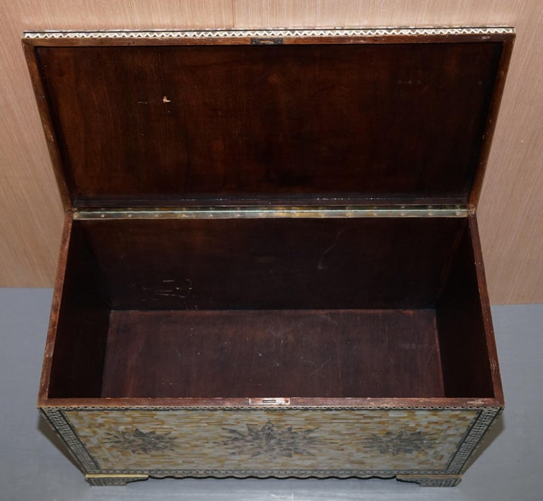 Very Rare Absolutely Sublime Mother of Pearl Chest of Trunk with Mahogany Lining For Sale 11