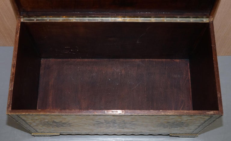 Very Rare Absolutely Sublime Mother of Pearl Chest of Trunk with Mahogany Lining For Sale 12