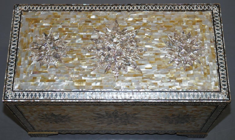 English Very Rare Absolutely Sublime Mother of Pearl Chest of Trunk with Mahogany Lining For Sale