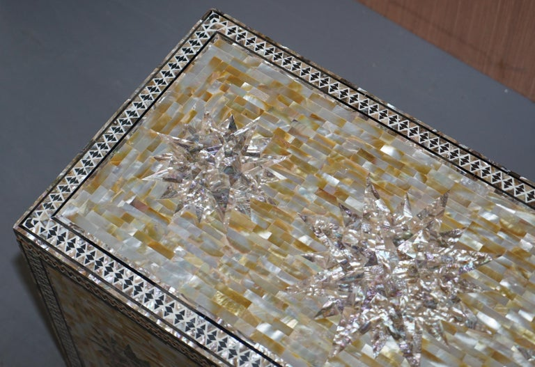 Hand-Crafted Very Rare Absolutely Sublime Mother of Pearl Chest of Trunk with Mahogany Lining For Sale