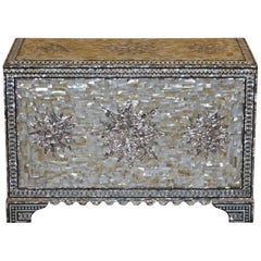 Very Rare Absolutely Sublime Mother of Pearl Chest of Trunk with Mahogany Lining