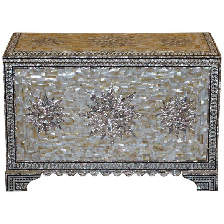 Very Rare Absolutely Sublime Mother of Pearl Chest of Trunk with Mahogany Lining For Sale