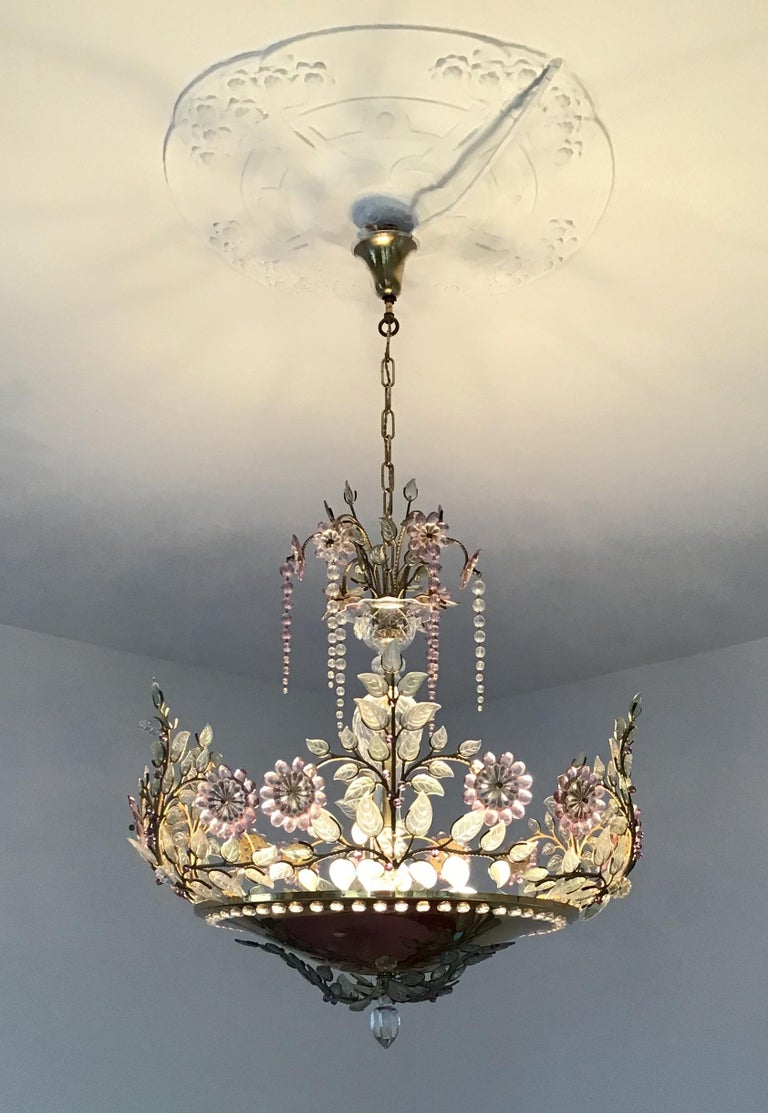 Rare Amethyst Chandelier in the Style of Maison Bagues, France, 1950s For Sale 2