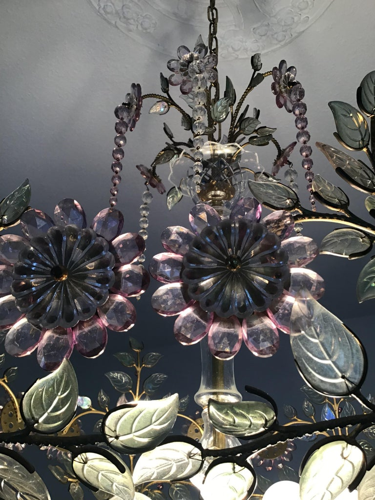Rare Amethyst Chandelier in the Style of Maison Bagues, France, 1950s For Sale 3