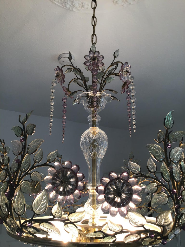 Rare Amethyst Chandelier in the Style of Maison Bagues, France, 1950s For Sale 4