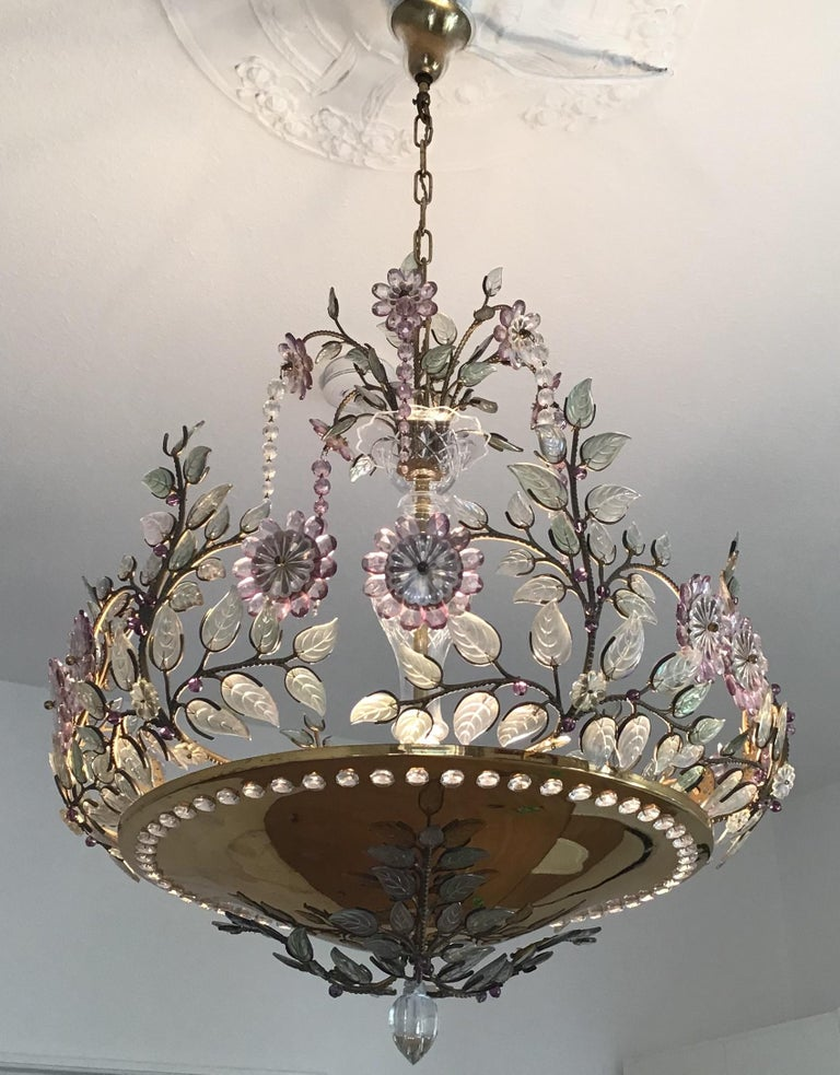 Rare Amethyst Chandelier in the Style of Maison Bagues, France, 1950s For Sale 5