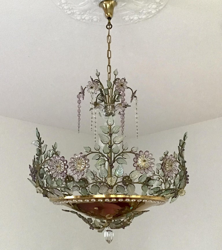 Amazing and absolutely rare six-light amethyst flower chandelier in the style of Maison Bagues, France, circa 1950s. Gilt brass and cut crystal /glass. Socket: Six x Edison (E27) for standard screw bulbs.  Rewired for US standards.