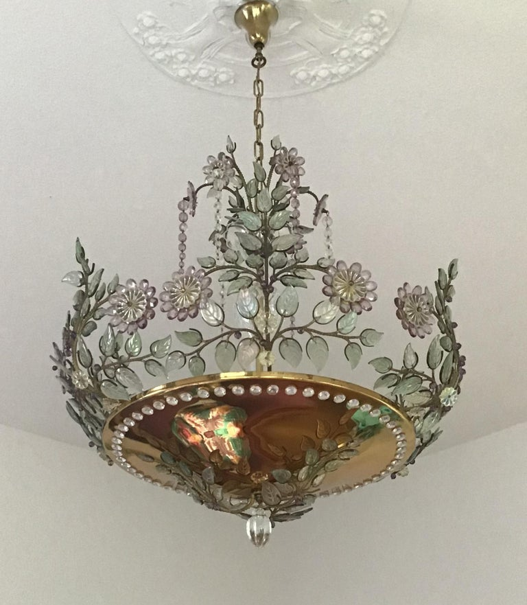 Mid-Century Modern Rare Amethyst Chandelier in the Style of Maison Bagues, France, 1950s For Sale