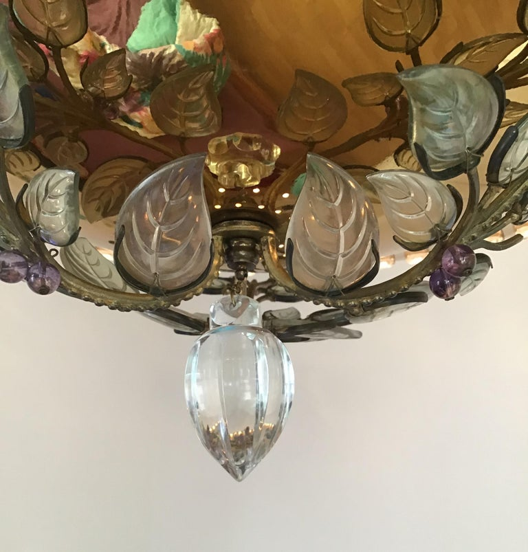 Mid-20th Century Rare Amethyst Chandelier in the Style of Maison Bagues, France, 1950s For Sale
