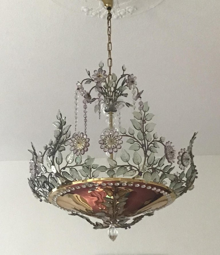 Crystal Rare Amethyst Chandelier in the Style of Maison Bagues, France, 1950s For Sale