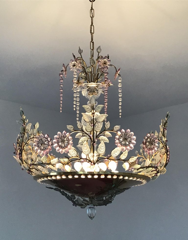 Rare Amethyst Chandelier in the Style of Maison Bagues, France, 1950s For Sale 1