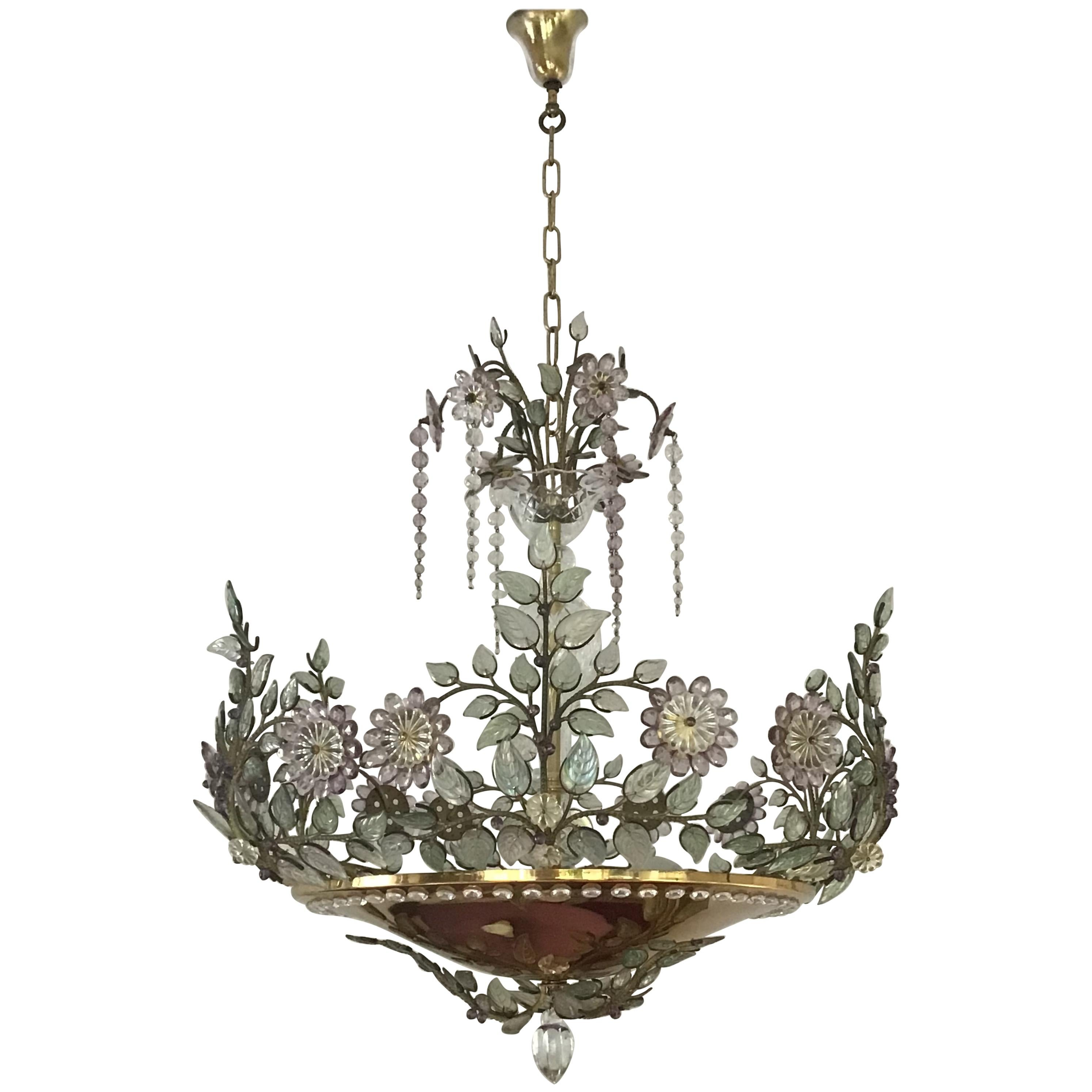 Rare Amethyst Chandelier in the Style of Maison Bagues, France, 1950s