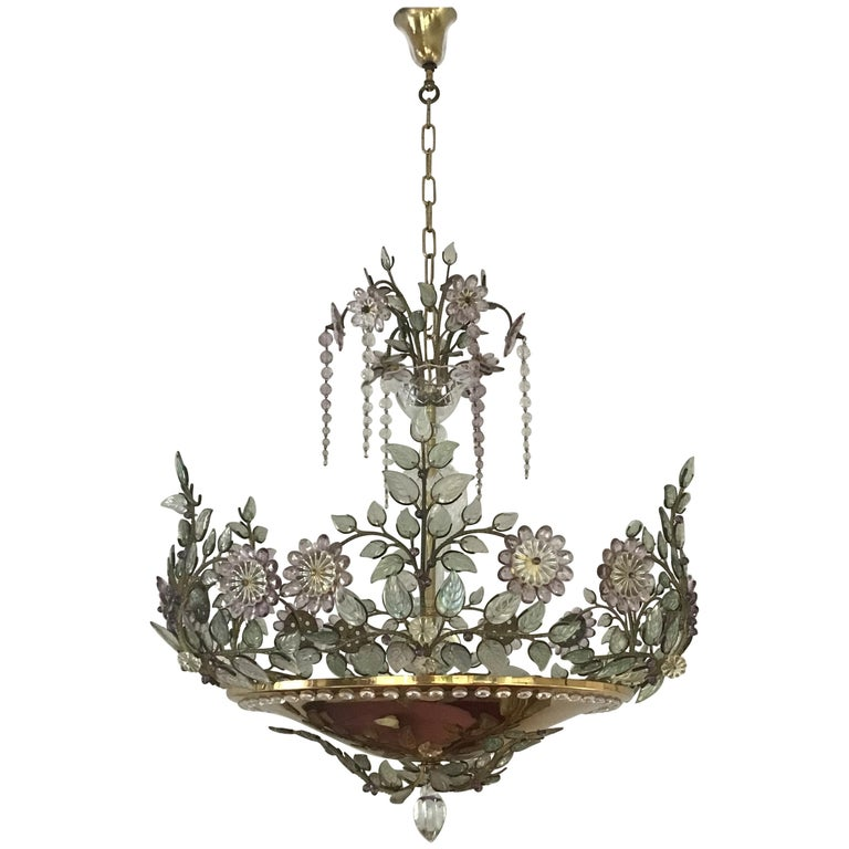 Rare Amethyst Chandelier in the Style of Maison Bagues, France, 1950s For Sale