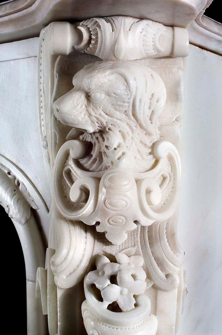 Very Rare and Important Mid-18th Century English Rococo Marble Fireplace Mantel For Sale 5