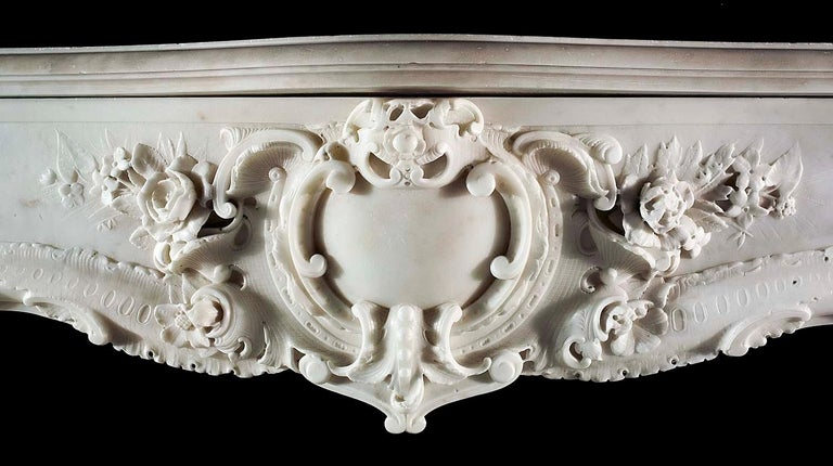 Very Rare and Important Mid-18th Century English Rococo Marble Fireplace Mantel For Sale 6