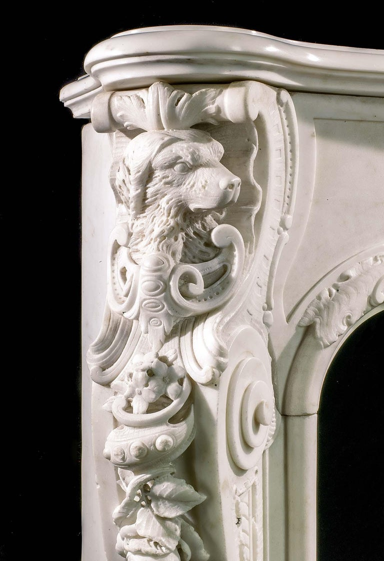 Very Rare and Important Mid-18th Century English Rococo Marble Fireplace Mantel For Sale 1