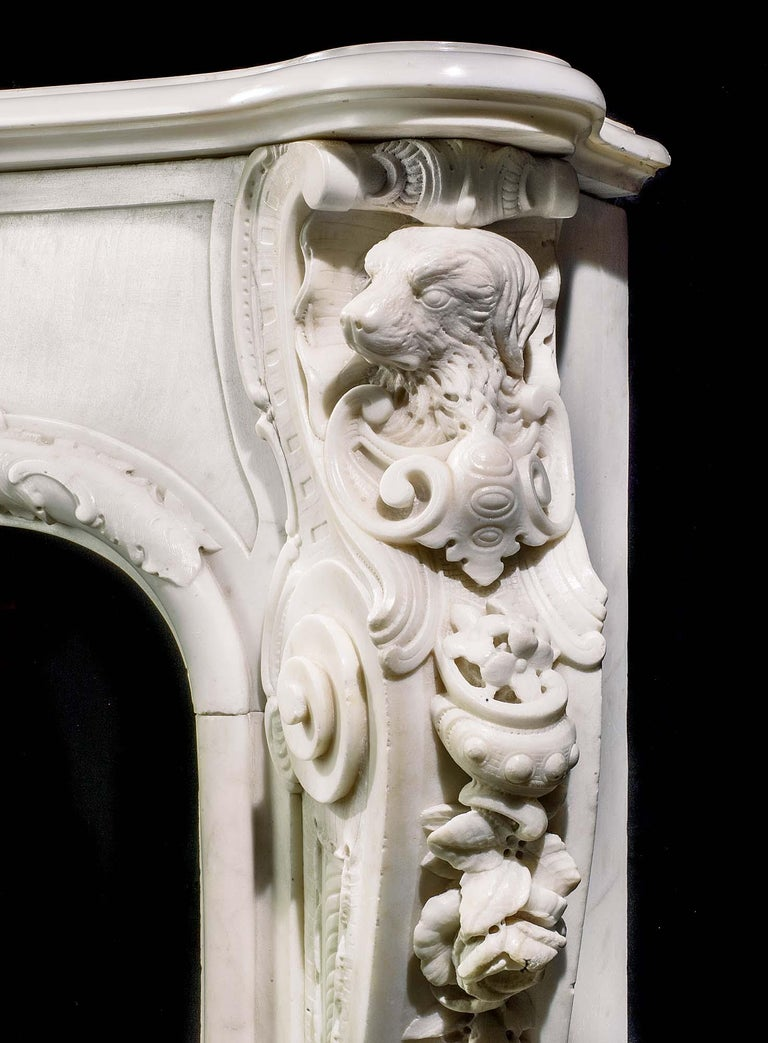 Very Rare and Important Mid-18th Century English Rococo Marble Fireplace Mantel For Sale 2