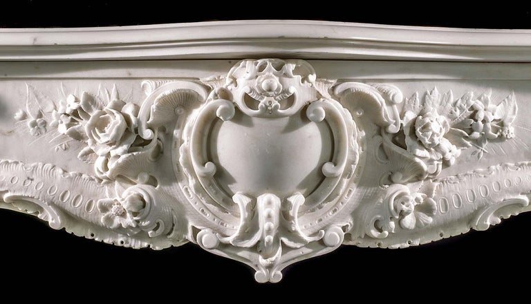 Very Rare and Important Mid-18th Century English Rococo Marble Fireplace Mantel For Sale 4