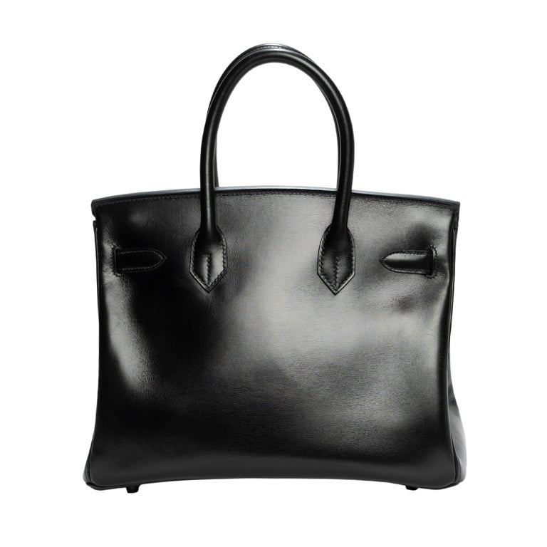 Rare Handbag Hermes Birkin So Black 30 cm in Black calfskin leather, Blackened Metal Trim, Double Handle Leather Box Black Allowing One Hand Carrying  Closure by flap Black leather inner lining, one zipped pocket, one patch pocket Sold with tirette,