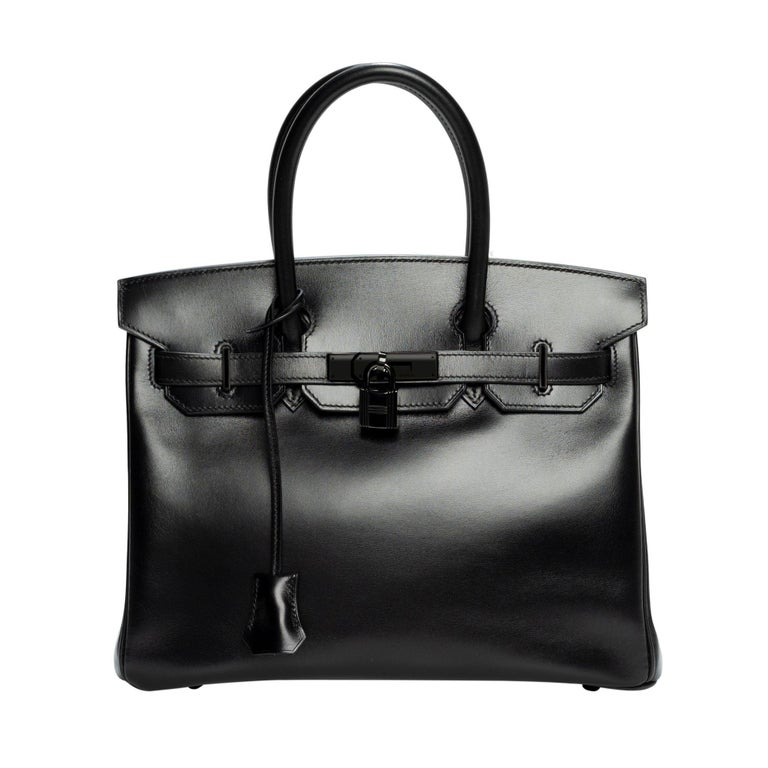 "Very Rare and wanted Hermès Birkin 30 ""SO BLACK"" handbag full set For Sale"