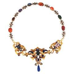 Very Rare Antique Carved Intaglio Enamel Necklace