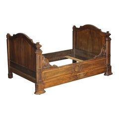 Very Rare Antique circa 1835 Hardwood French Louis Philippe Alcove Daybed Frame