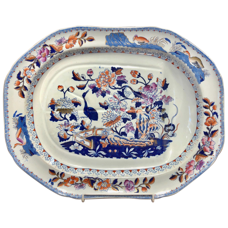 Very Rare Antique English Clews Staffs, Ironstone Imari Dec Well & Tree Platter