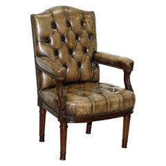 Very Rare Antique Georgian Chesterifled Gainsborough Carver Office Desk Armchair