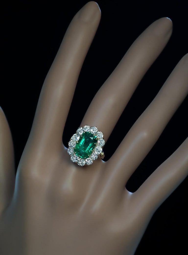 Victorian Very Rare Antique Russian Emerald Diamond Engagement Ring