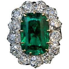 Very Rare Antique Russian Emerald Diamond Engagement Ring