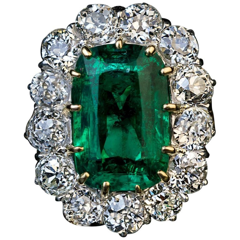 Antique Engagement Rings For Sale: Very Rare Antique Russian Emerald Diamond Engagement Ring