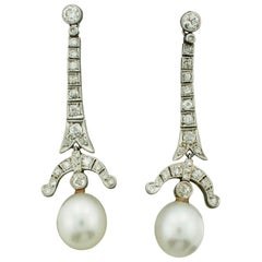 Very Rare Art Deco Platinum and Pearl Diamond Earrings