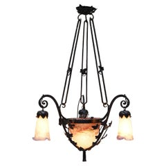 Very Rare Art Nouveau Glass Signed Muller Fres Luneville Chandelier Wrought Iron
