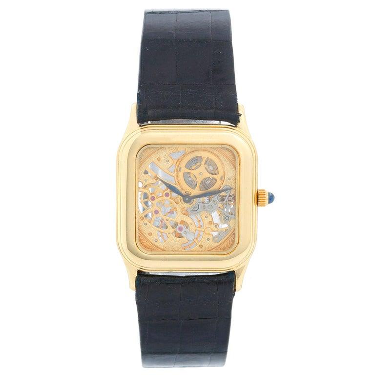 Very Rare Audemars Piguet 18 Karat Yellow Gold Openworked Watch Ref 4386 For Sale