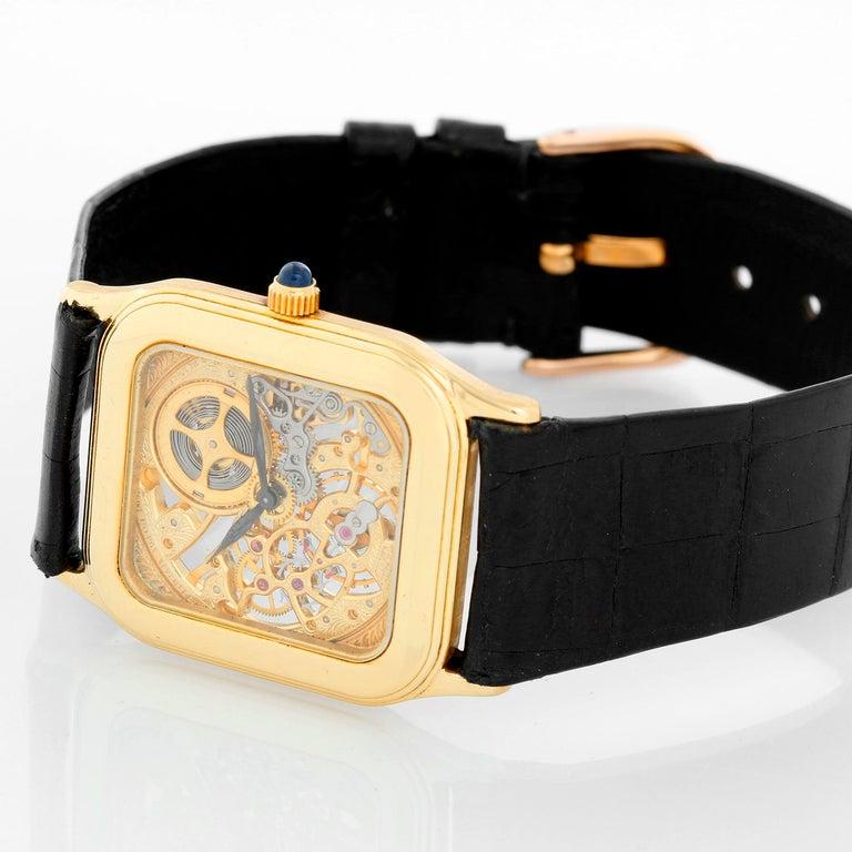 Very Rare Audemars Piguet 18K Yellow gold Openworked Watch Ref 4386 - Manual winding. 18K Yellow gold case (26mm x 35mm ). Skeleton dial. Audemars Piguet black strap with 18K Audemars Piguet gold buckle. Pre-owned with Audemars Piguet box.  Very