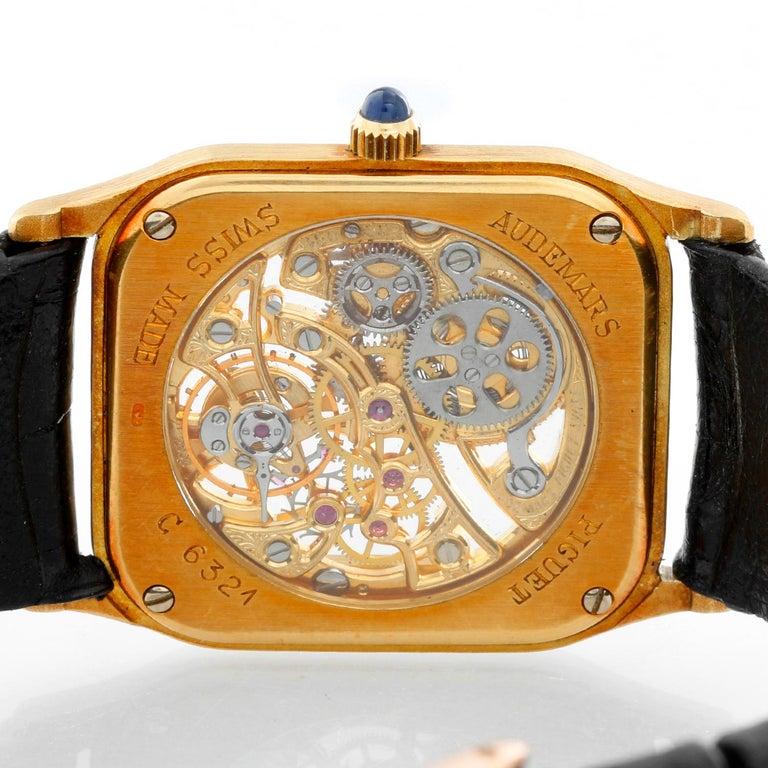 Men's Very Rare Audemars Piguet 18 Karat Yellow Gold Openworked Watch Ref 4386 For Sale